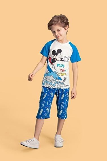 Mickey Mouse  Mouse Lisanslı Oranj Erkek Çocuk Kapri Takım Krem